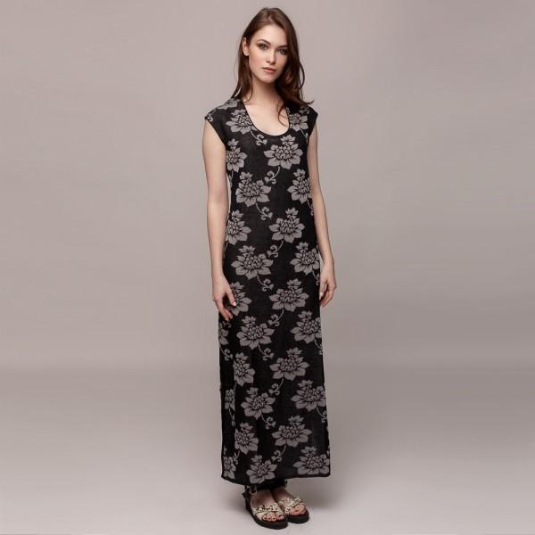 Dylma flower print knit linen Dress black