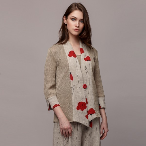 Longe sleeve linen cardigan with printed linen fabric inserts