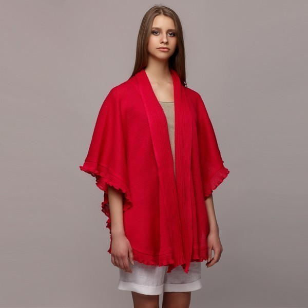 Madlen pure linen poncho red