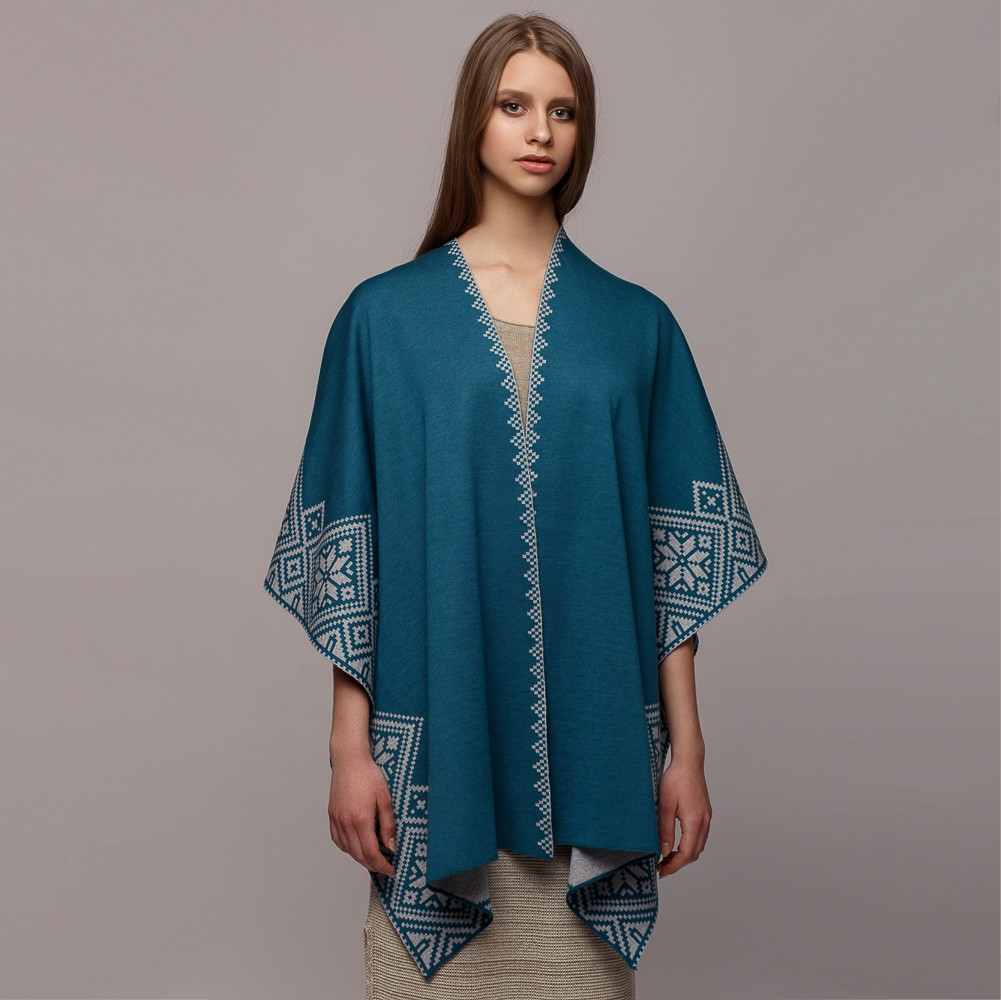 Nordstar Pure Merino Wool Poncho turqoise-gray