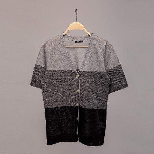 Short sleeve V neck linen cardigan