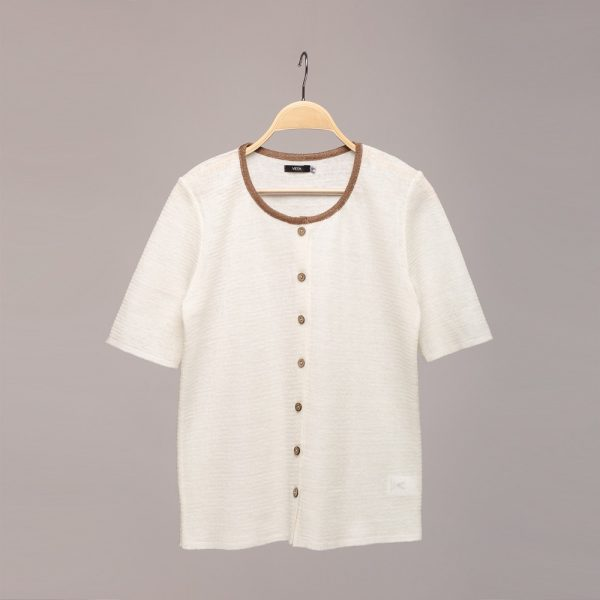 Short sleeve O neck linen cardigan