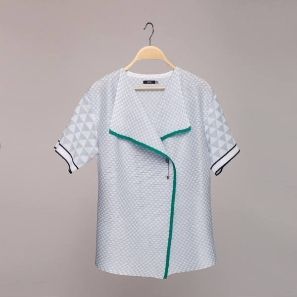 Short sleeve linen cardigan with geometry pattern