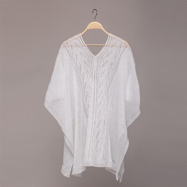 white openwork linen poncho Afina
