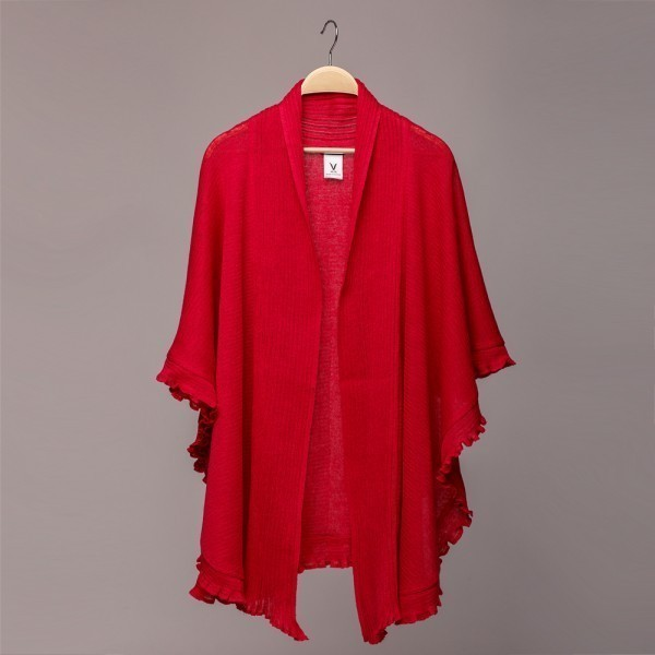 Madlen pink pure linen poncho