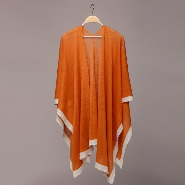 Brita Pure Linen Poncho orange-white