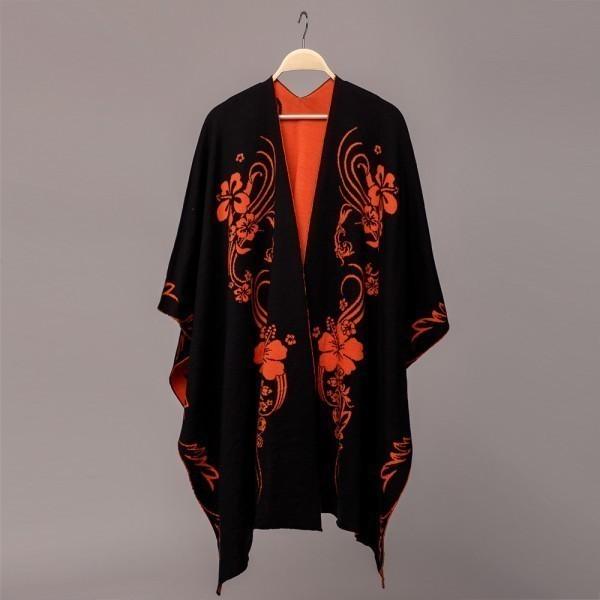 Hawaii Pure Merino Wool Poncho black-orange