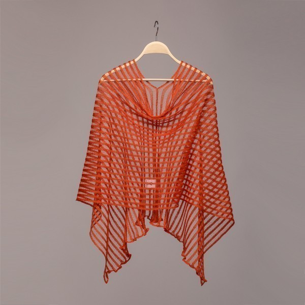 Nensi Light Pure Linen Poncho orange