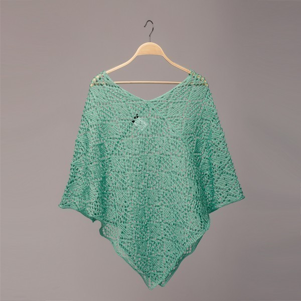 P086 acqua marina openwork knit linen poncho