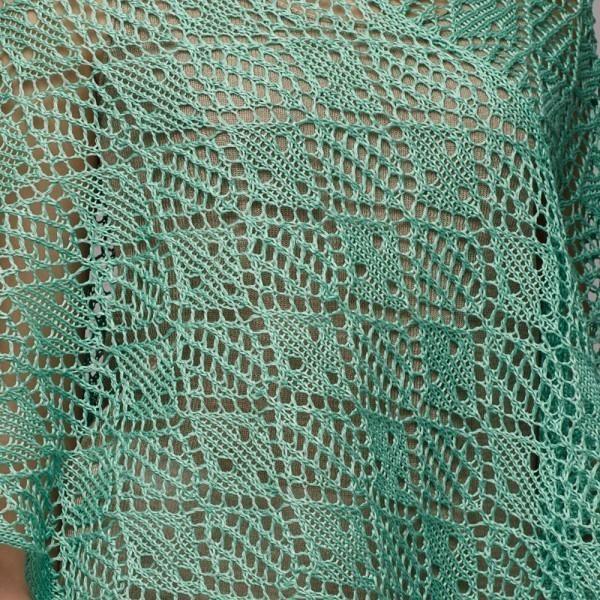 Flora openwork pure linen poncho acqua marina
