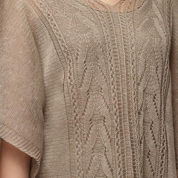 Afina pure linen poncho natural gray