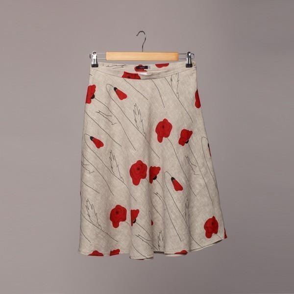 SK092 natural gray poppy print linen short skirt