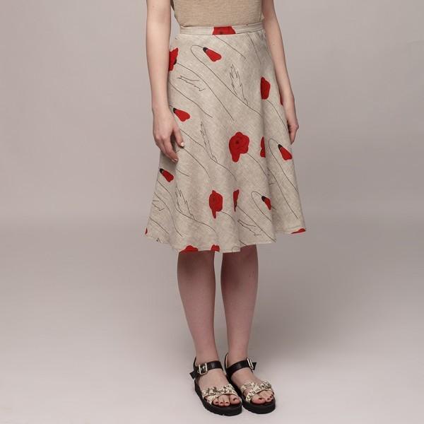 SK092 natural gray poppy print linen short skirt front
