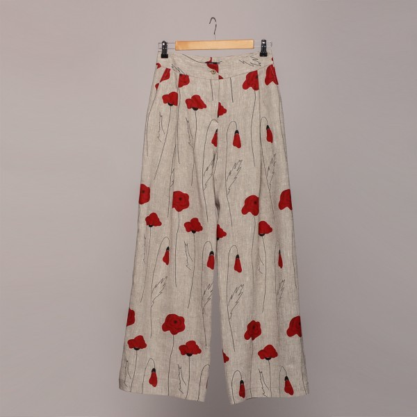 natural gray poppy print wide long linen pants trousers
