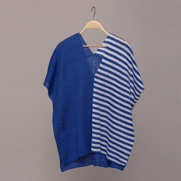 VT073 BLUE white stripes linen knit short sleeve top