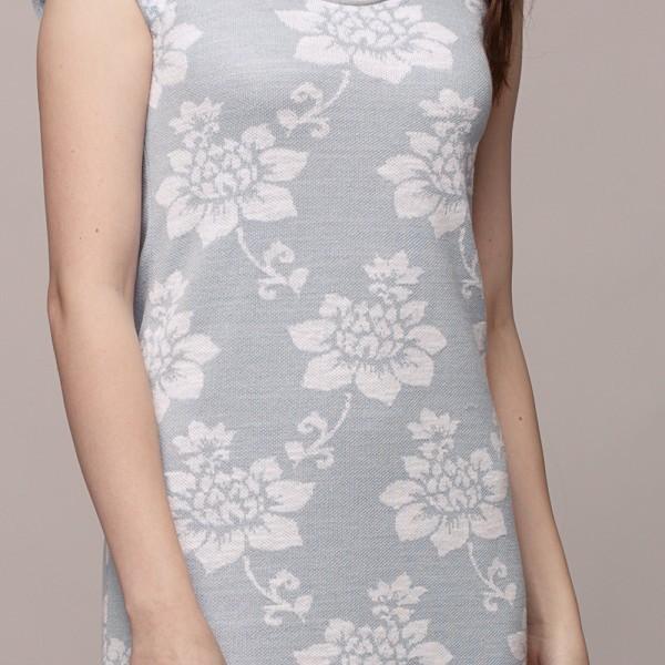 Dylma flower print knit linen Dress light blue