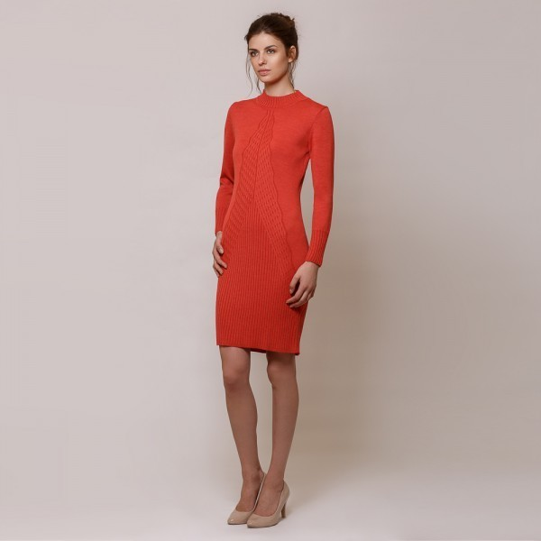 Vanessa long sleeve wool knit dress coral