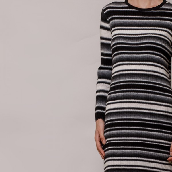 Felina striped rib-knit O-neck dress black