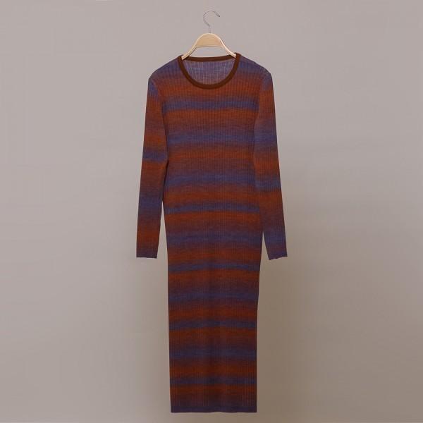 Felina striped rib-knit O-neck dress black