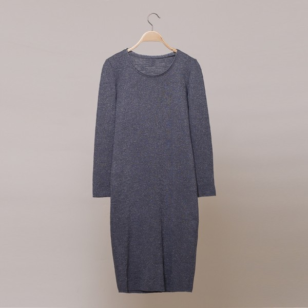 Aura lurex knit o-neck dress gray