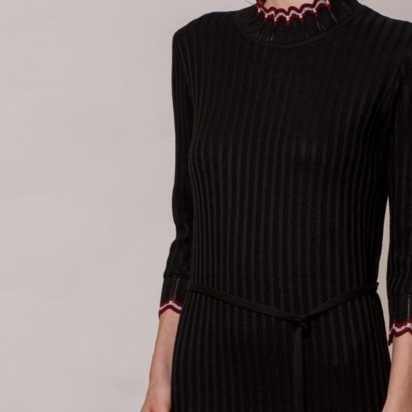 Andria wool knit dress with ribbon belt black