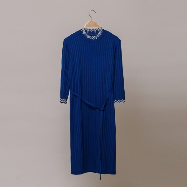 Andria wool knit dress with ribbon belt blue