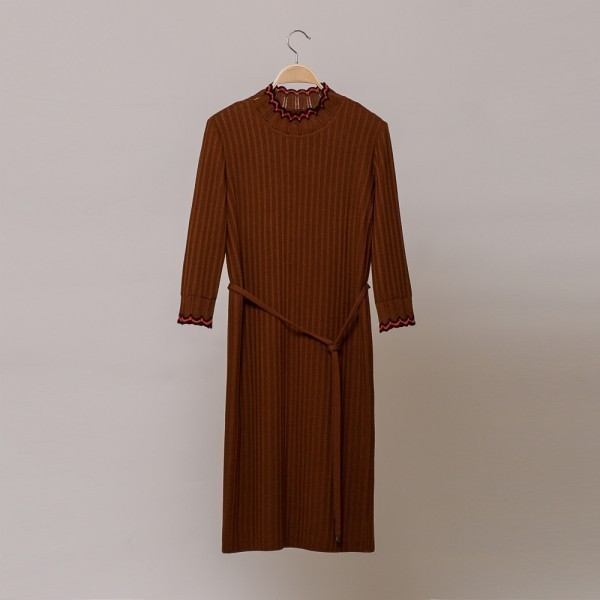 Andria wool knit dress with ribbon belt brown