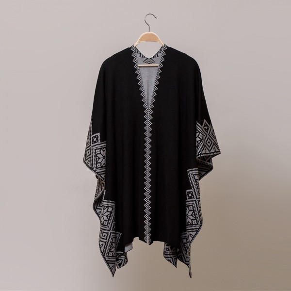 Nordstar Pure Merino Wool Poncho black-gray