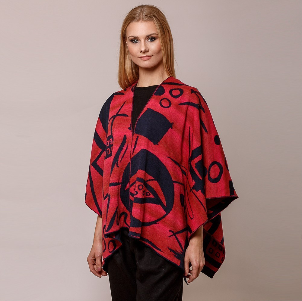 Skarlet pure merino wool poncho red-blue