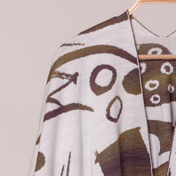 Skarlet pure merino wool poncho white-green