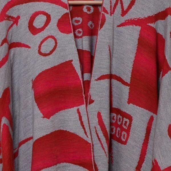 Skarlet pure merino wool poncho red-gray
