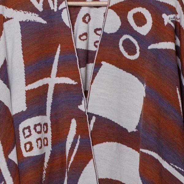 Skarlet pure merino wool poncho white-brown-blue