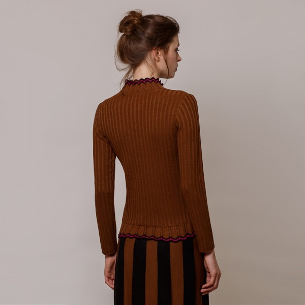 Andrea high neck wool brown pullover
