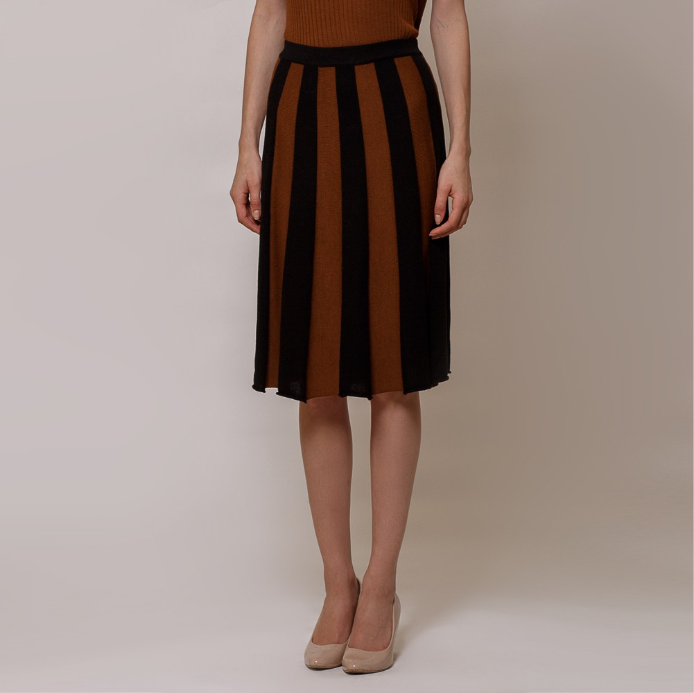 Andrea two color wool knit skirt black-brown