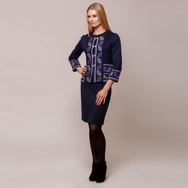 Tulla pure wool knit short skirt blue
