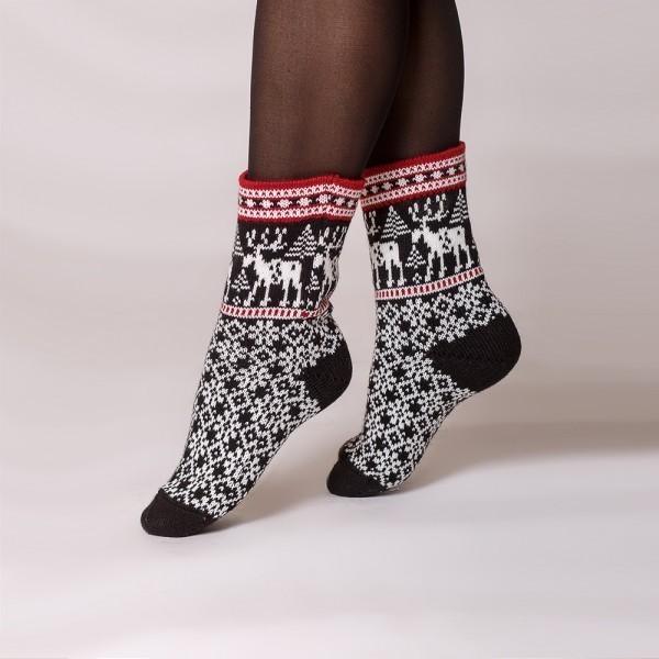 Deer warm pure wool socks black