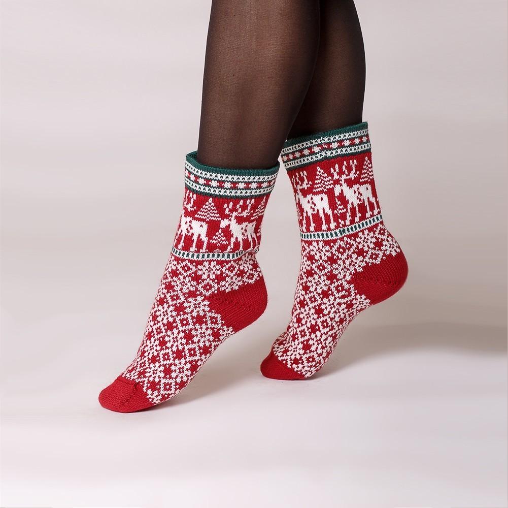 Deer warm pure wool socks red