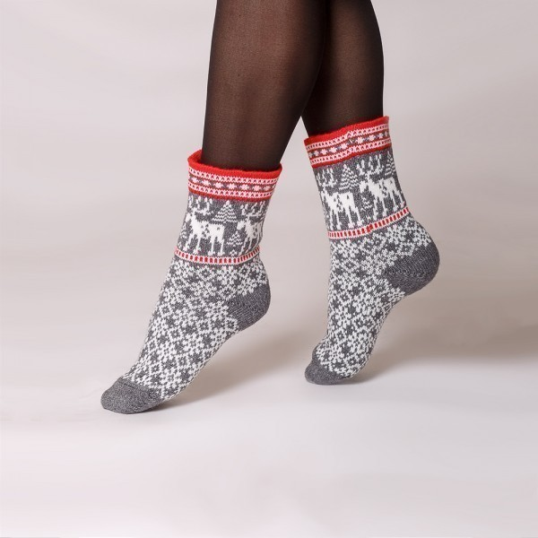 Deer warm pure wool socks gray