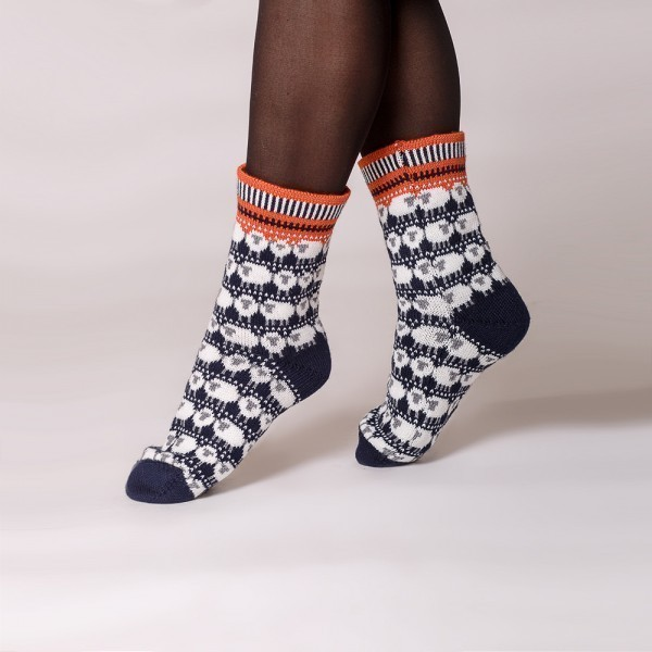 Dolly warm pure wool socks blue