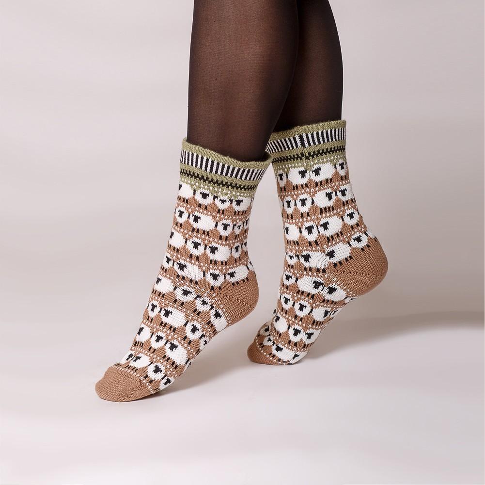 Dolly warm pure wool socks beige