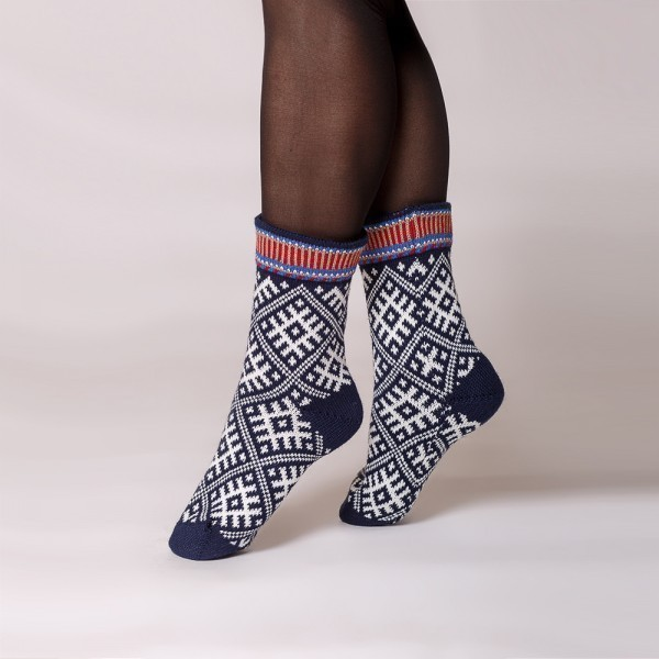 Tilda warm pure wool socks blue