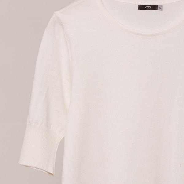 Frida шерстяной пуловер с коротким рукавом белого цвета