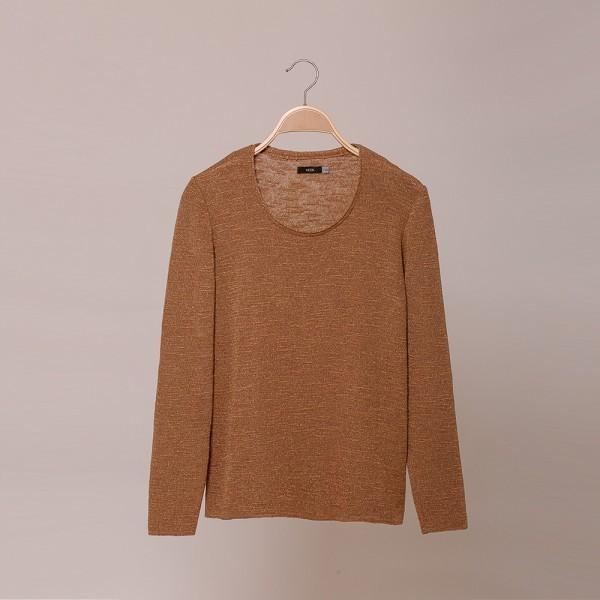 Merta Пуловер с O-образной горловиной бежевого цвета
