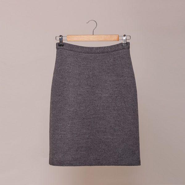 Tulla pure wool knit short skirt gray