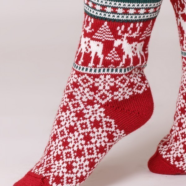 Deer warm pure wool socks red