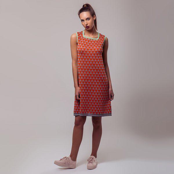 Relika žakaarse rombimustriga linane kleit oranz