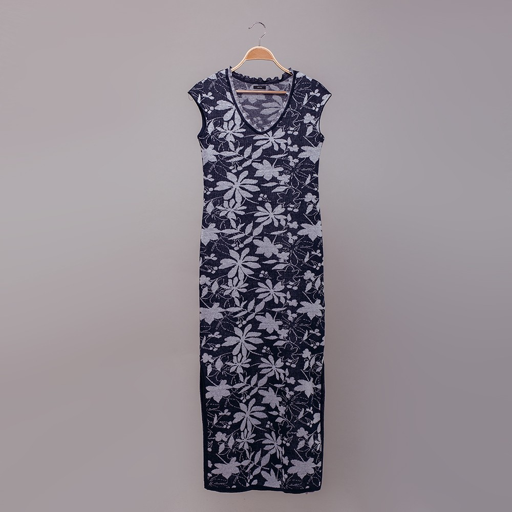 Magaly jacquard knit long pure linen dress dark blue