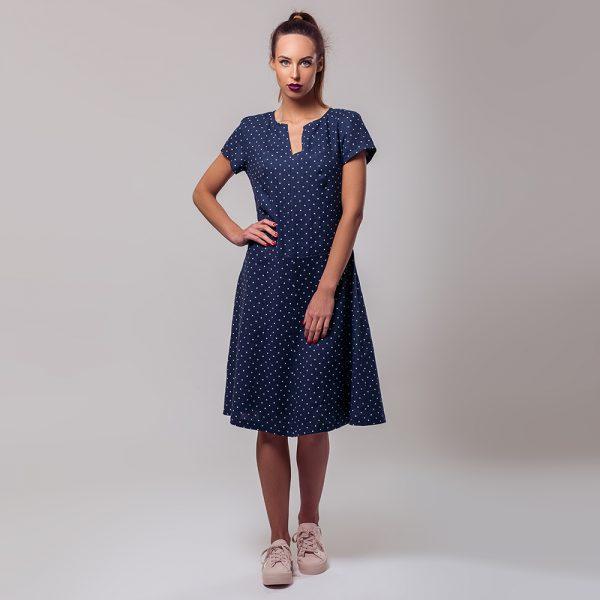 Loren синее льняное платье в белый горошек