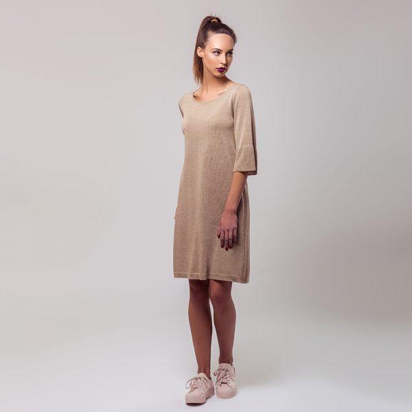 Anais lace insert knit dress beige