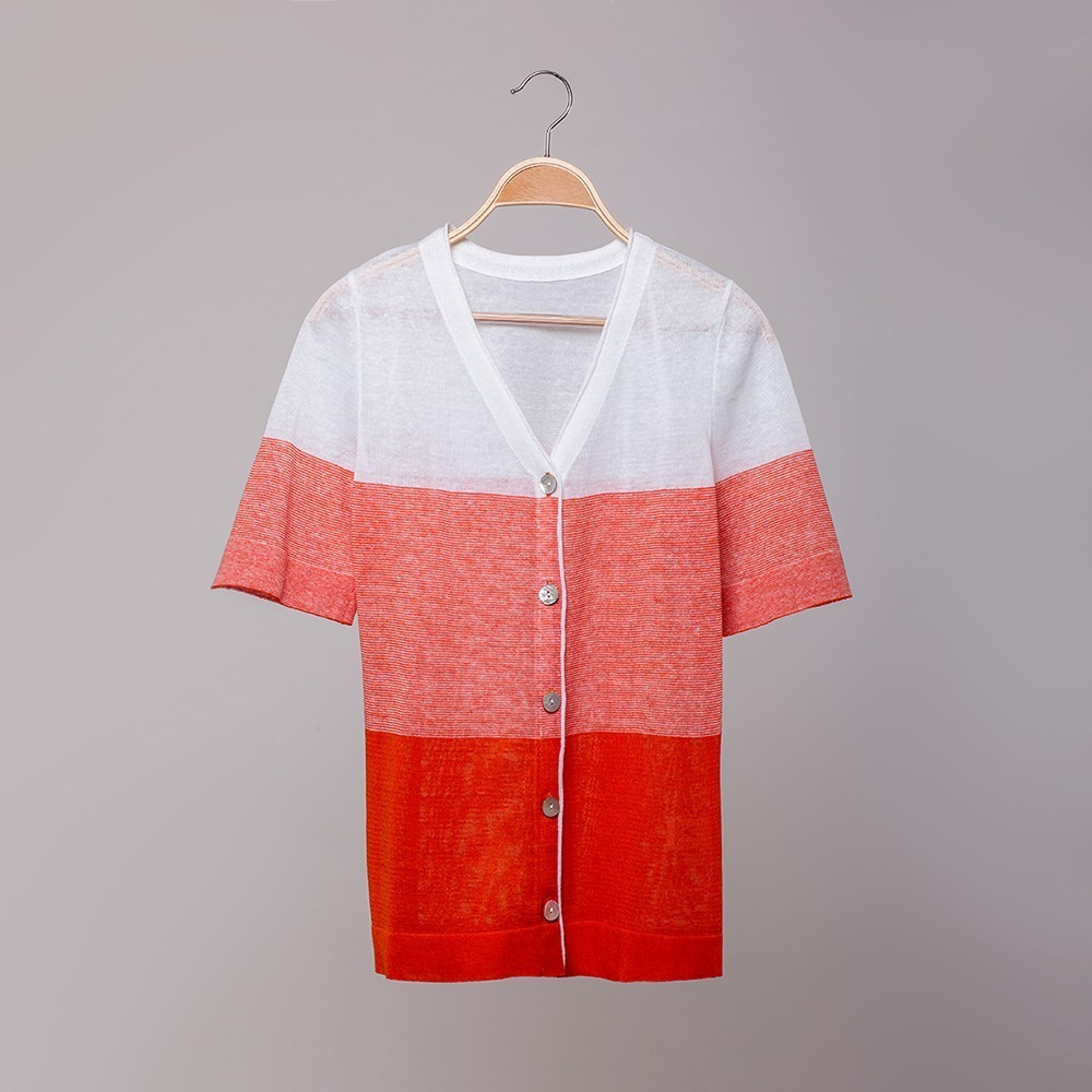 Zlata V neck short sleeve linen cardigan orange white